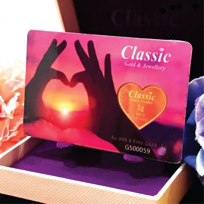 Classic Gold 999.9 Gold Bar Love