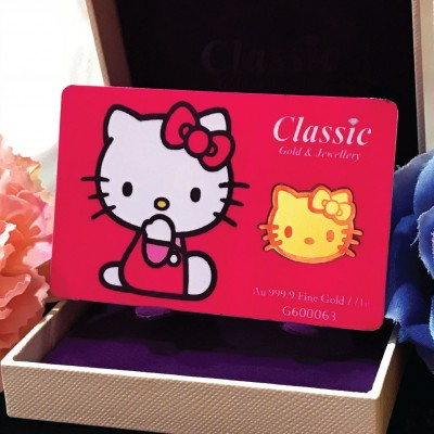 Classic Gold 999.9 Gold Bar Hello Kitty