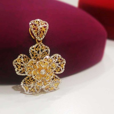 916 Gold Blooming Flower Pendant