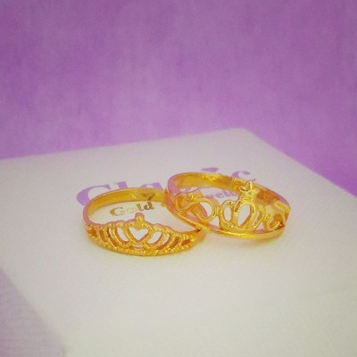 916 Gold Princess Crown Ring